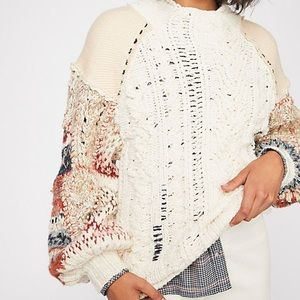 NEW Free People Mixed and Mended Sweater XS ivory